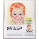 1961 Northern Towels Color Print Art Ad Handiest Helper