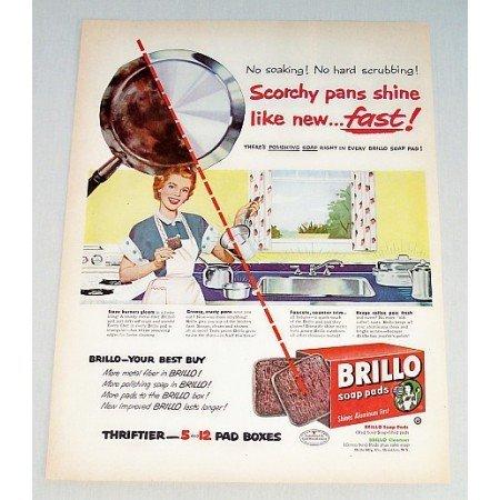 1952 Brillo Soap Pads Color Print Ad - Shine Like new