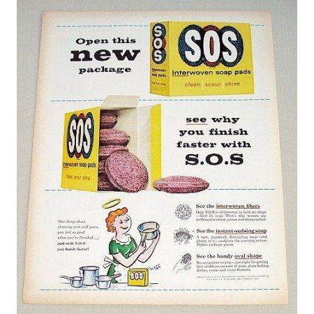 1959 SOS Interwoven Soap Pads Color Print Art Ad