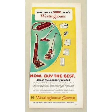 1949 Westinghouse Vacuum Cleaners Vintage Color Print Ad