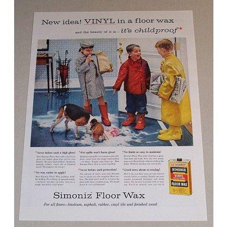 1957 Simoniz Vinil Floor Wax Vintage Color Print Ad - It's Childproof