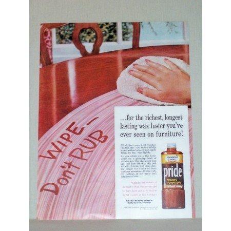1957 Johnson's Wax Pride Furniture Polish Color Print Ad