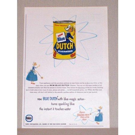 1957 Blue Dutch Cleanser Color Print Ad - Blue Magic Action