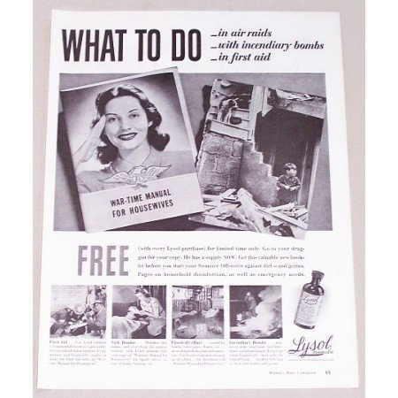 1942 Lysol Disinfect Wartime Vintage WWII Print Ad - What To Do
