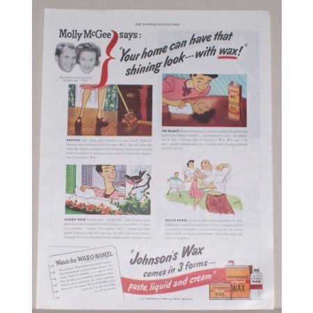 1945 Johnson's Paste Wax Color Print Ad - Molly McGee Says: