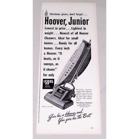1947 Hoover Junior Vacuum Cleaner Vintage Print Ad - She'll Be Happy