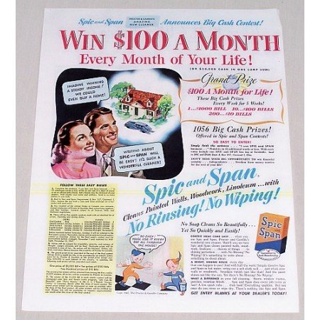1947 Spic and Span Color Print Ad - Big Cash Contest