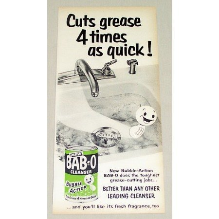 1954 Bab-O Cleanser Vintage Print Ad - Cuts Grease 4 Times As Quick