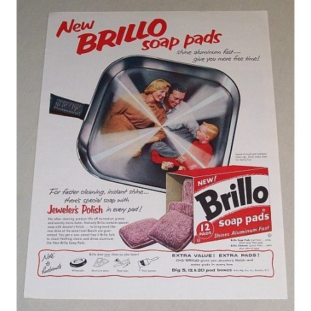 1958 Brillo Soap Pads Color Print Ad - Shine Aluminum Fast