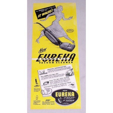 1947 Eureka Upright Vacuum Cleaner Color Print Ad - It Walks It Cleans