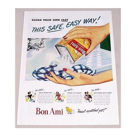 1947 Bon Ami Cleanser Color Print Ad - Safe Easy Way