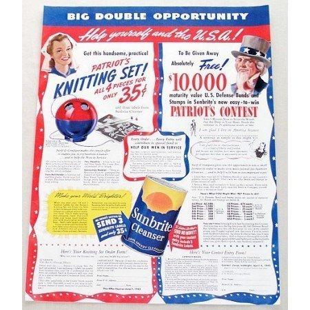 1942 Sunbrite Cleanser Knitting Set Offer Color Print Ad