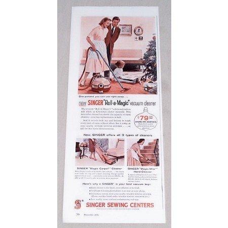 1956 Singer Roll-A-Magic Vacuum Cleaner Color Print Ad