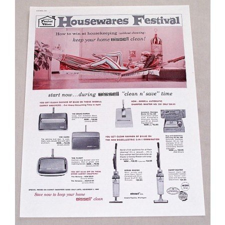 1960 Bissell Carpet Sweepers Vacuum Color Print Ad