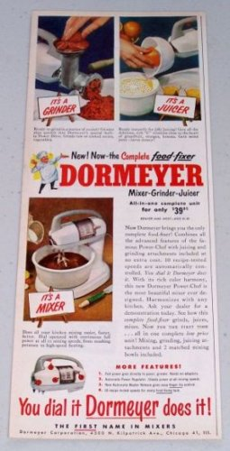 1949 Dormeyer Mixer-Grinder-Juicer All-In-One Unit Small Kitchen Appliance Color Print Ad