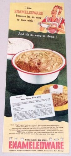 1948 Enameledware Kitchenware Color Print Ad