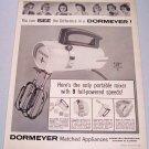 1957 Dormeyer Model 9500 Electric Mixer Vintage Print Ad