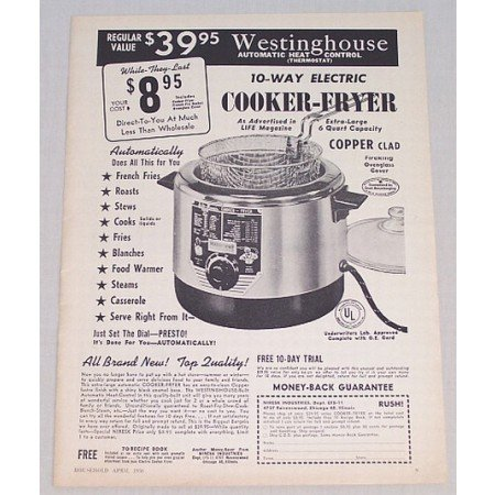 1956 Westinghouse 10-Way Electric Cooker Fryer Vintage Print Ad