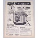 1956 Westinghouse 10-Way Electric Cooker Fryer Vintage Print Ad