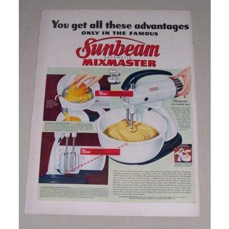 1949 Sunbeam Mixmaster Automatic Electric Mixer Color Print Ad