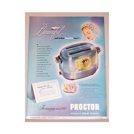 1948 Proctor Automatic Pop-Up Toaster Color Print Ad - June Brides