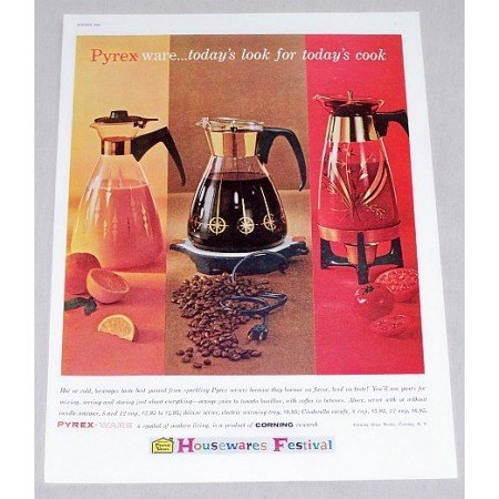 1960 Pyrex Ware Coffee Juice Carafe Servers Color Print Ad