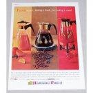 1960 Pyrex Ware Coffee Juice Carafe Servers Color Print Ad