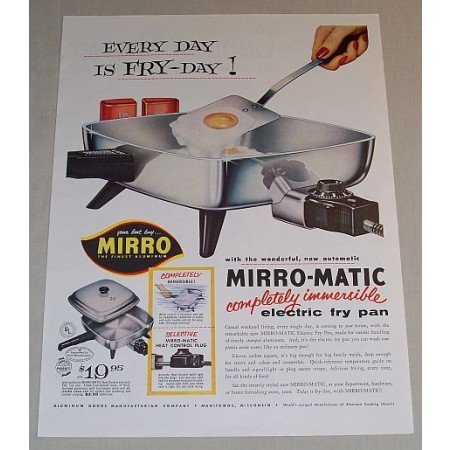 1957 Miro-Matic Electric Fry Pan Color Print Ad - Its Fry-Day