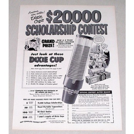 1955 Dixie Cups Vintage Print Ad - $20,000 Dollar Scholarship Contest