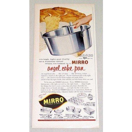 1956 Mirro Aluminum Angel Cake Pan Color Print Ad