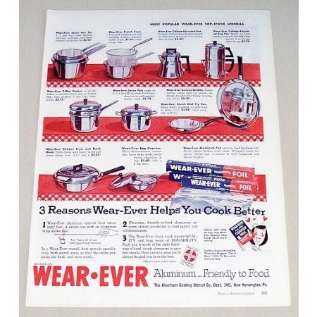 1953 Wear Ever Aluminum Foil Cookware Color Print Ad