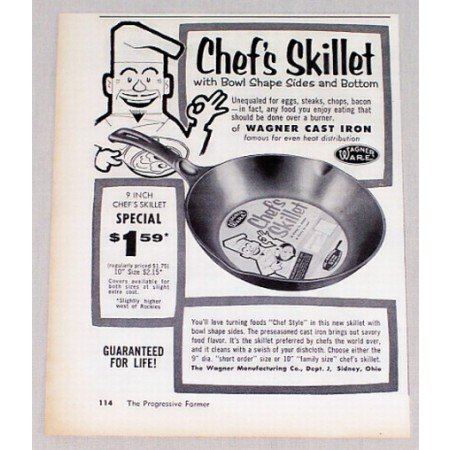 1956 Wagner Ware Cast Iron 9 Chef's Skillet Vintage Print Ad