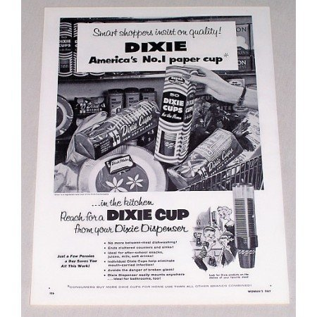 1955 Dixie Cups Vintage Print Ad - Insist On Quality!