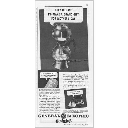 1935 General Electric Hotpoint Coffee Maker Vintage Print Ad