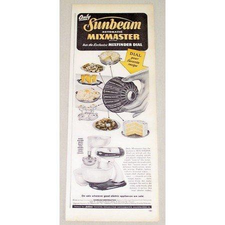 1946 Sunbeam Automatic Mixmaster Mixer Color Print Ad