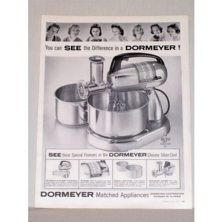 1957 Dormeyer Model 4300 Chrome Silver-Chef Mixer Vintage Print Ad