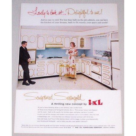 1962 I-XL Kitchen Cabinets Color Print Ad - Sculptured Satingold