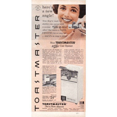1960 Toastmaster Action Angle Can Opener Color Print Ad