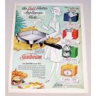 1960 Sunbeam Automatic Electric Frypan Color Print Ad