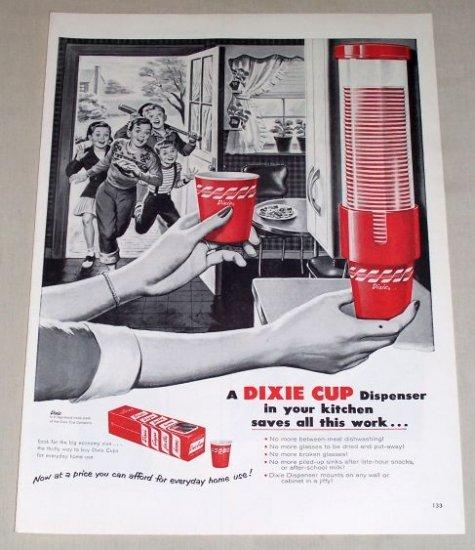 1954 Dixie Cups Dispenser 50's Kitchen Art Vintage Print Ad