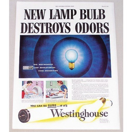1952 Westinghouse Lamp Bulbs Color Print Ad - Destroys Odors
