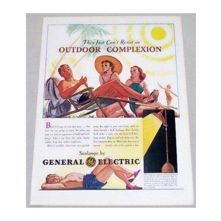 1939 General Electric Sunlamps Color Print Art Ad