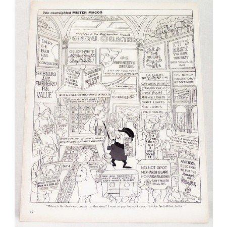 1962 GE Soft White Light Bulbs Vintage Mr Magoo Print Cartoon Ad