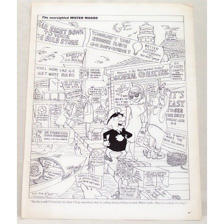 1963 GE Soft White Light Bulbs Mr Magoo Cartoon Vintage Print Ad