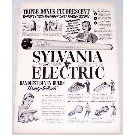 1948 Sylvania Electric Fluorescent Bulbs Handy 5 Pack Vintage Print Ad