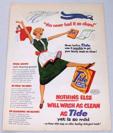 1953 Tide Laundry Detergent Vintage Color Print Art Ad