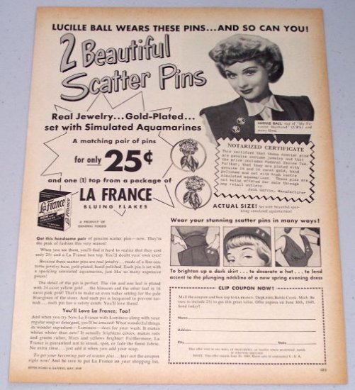 1949 LaFrance Bluing Flakes Scatter Pins Offer Vintage Print Ad Celebrity Lucille Ball