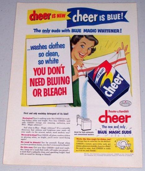 1954 Procter Gamble's Cheer Detergent Vintage Print Color Art Ad