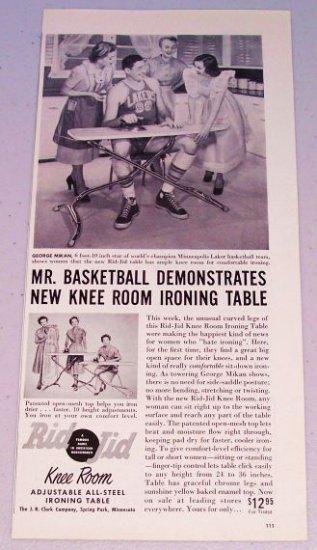 1953 Rid-Jid Ironing Table Print Ad Minneapolis Lakers Celebrity Basketball Star George Mikan