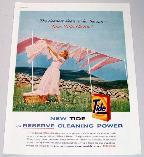 1958 Tide Detergent Color Print Ad